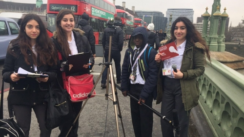Walworth Academy Pupils Westminster Bridge International Women's Day